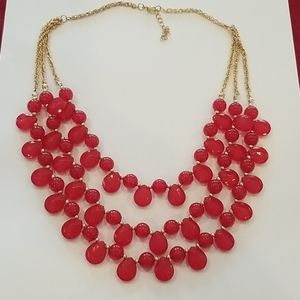 Red Multi-strand Necklace Gold Chain